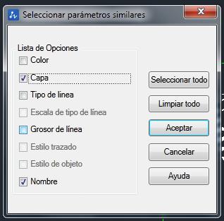 configuración parámetros para encontrar objetos similares