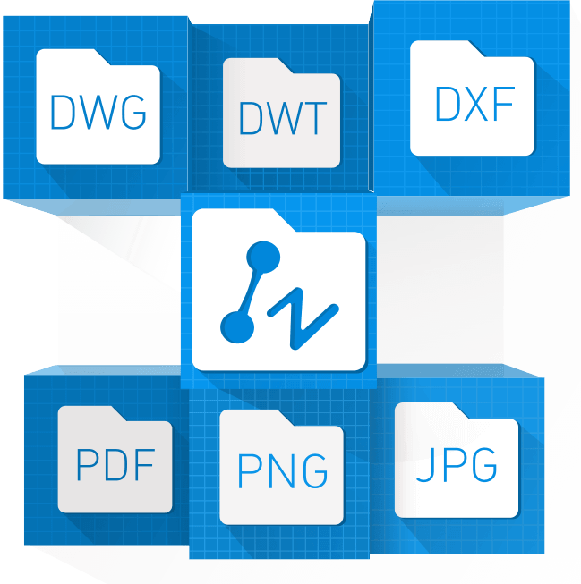 zwcad es compatible con dwg, dxf, dwf, dwt, dgn,