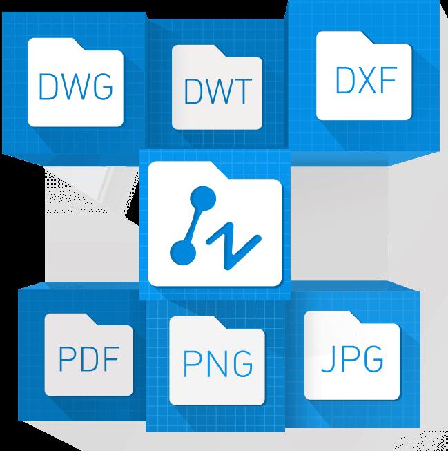 zwcad es compatible con dwg, dxf, dwf, dwt, dgn,