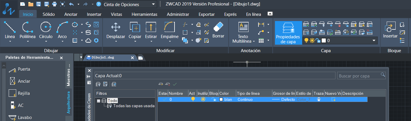 interfaz de ZWCAD