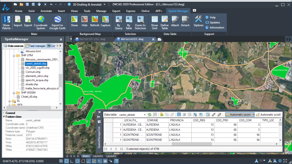 Spatial Manager and ZWCAD 2020 - Interactive and synchronized Data grid