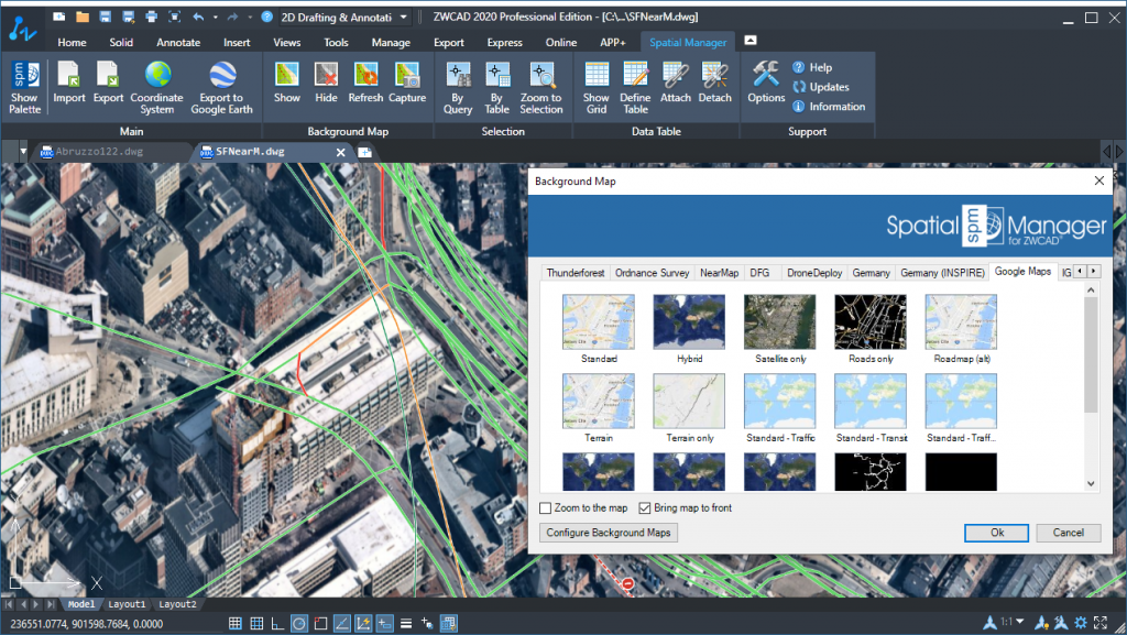 Spatial Manager and ZWCAD 2020 - Preset and user-defined Background maps