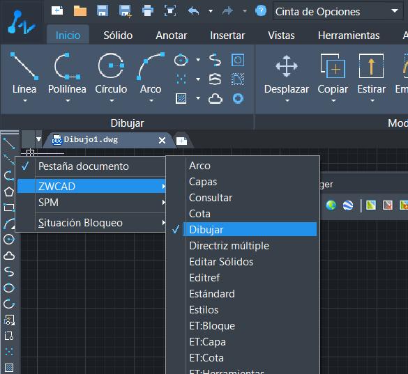 menú contextual para activar y desactivar barras de herramientas