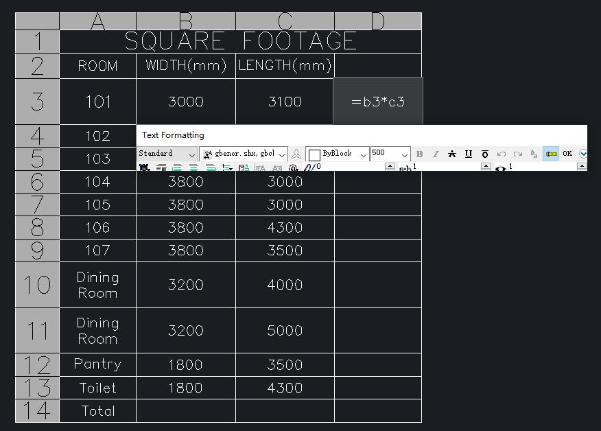 fórmulas en tablas ZWCAD 2021